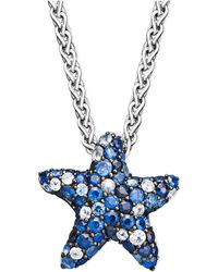 Effy Collection - Sapphire Splash By Effy Multicolor Sapphire Pave Starfish Pendant Necklace In Sterling Silver (2-3/4 Ct. T.w.) - Lyst