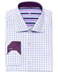 Michelsons Of London - Men's Slim-fit Textured Blue Check Dress Shirt - Lyst