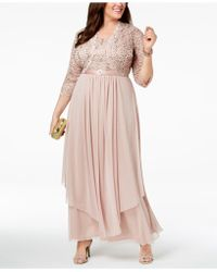 R & M Richards - Plus Size Sequined Lace Belted Gown And Jacket - Lyst