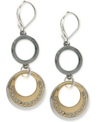 Nine West - Tri-tone Pavé Circle Double Drop Earrings - Lyst