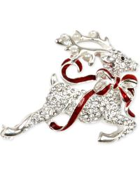 Charter Club - Silver-tone Pavé Reindeer Brooch - Lyst