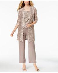 R & M Richards - Petite 3-pc. Sequined Lace Pantsuit - Lyst