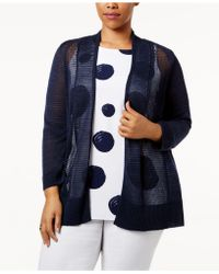 Alfani - Plus Size Mixed-stitch Open-front Cardigan, Created For Macy's - Lyst