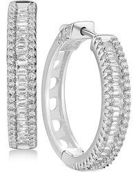 Macy's - Cubic Zirconia Hoop Earrings In Sterling Silver - Lyst