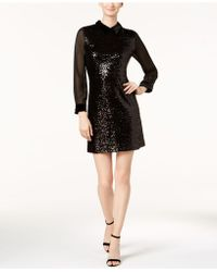 Julia Jordan - Velvet-collar Sequined Shift Dress - Lyst