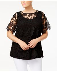 Love Scarlett - Plus Size Lace-overlay Illusion Top - Lyst