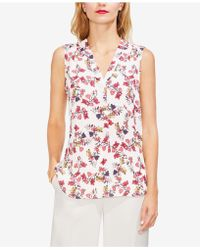 Vince Camuto - Printed V-neck Sleeveless Top - Lyst