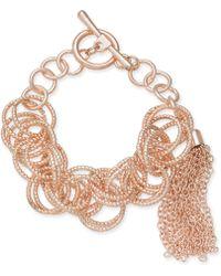 INC International Concepts - I.n.c. Rose Gold-tone Multi-ring Tassel Toggle Bracelet, Created For Macy's - Lyst