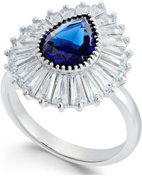 Macy's - Synthetic Sapphire & Cubic Zirconia Halo Ring In Sterling Silver - Lyst