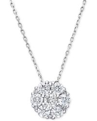 Macy's | Diamond Flower Cluster Pendant Necklace In 14k White Gold (1 Ct. T.w.) | Lyst