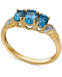 Macy's - Blue Topaz (1 Ct. T.w.) And Diamond Accent Ring In 14k Gold - Lyst