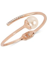 Kenneth Cole - New York Rose Gold-tone Imitation Pearl And Crystal Bypass Bangle Bracelet - Lyst