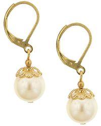 2028 - Gold-tone Simulated Pearl Drop Earrings - Lyst