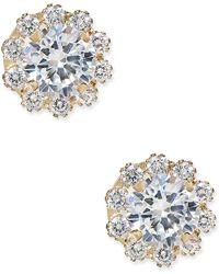 Macy's - Cubic Zirconia Halo Stud Earrings In 10k Gold - Lyst