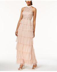 Adrianna Papell - Embellished Tiered Halter Gown - Lyst