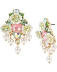 Betsey Johnson - Mixed Flower & Stone Cluster Button Earrings - Lyst