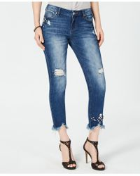 INC International Concepts - I.n.c. Curvy-fit Embellished Ripped Ankle Jeans, Created For Macy's - Lyst