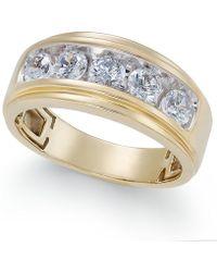 Macy's - Men's Diamond Five-stone Ring (1-1/2 Ct. T.w.) In 10k Gold - Lyst