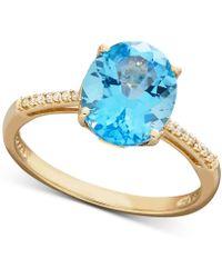 Macy's - Swiss Blue Topaz (3 Ct. T.w.) & Diamond Accent Ring In 14k Gold - Lyst