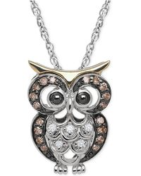 Macy's - White And Chocolate Diamond Owl Pendant Necklace (1/10 Ct. T.w.) In Sterling Silver And 14k Gold - Lyst