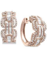 Effy Collection - Effy® Diamond Hoop Earrings (1-1/10 Ct. T.w.) In 14k Rose Gold - Lyst