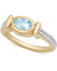 Macy's - Sapphire Two-tone Ring (9/10 Ct. T.w.) In 14k Gold-plated Sterling Silver - Lyst