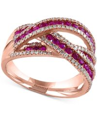 Effy Collection - Ruby (1 Ct. T.w.) And Diamond (3/8 Ct. T.w.) Interwoven Ring In 14k Rose Gold - Lyst