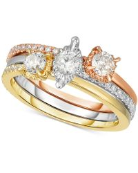 Macy's - 3 Pc. Diamond Stacking Ring Set (3/4 Ct. T.w.) In 14k Gold, White Gold & Rose Gold - Lyst