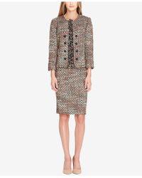 Tahari - Bouclé Fringe Skirt Suit - Lyst