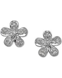 Macy's - Diamond Accent Flower Stud Earrings In 10k Gold - Lyst