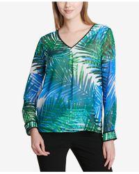 Calvin Klein - Striped V-neck Top - Lyst