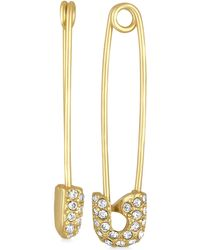 RACHEL Rachel Roy - Gold-tone Pavé Safety Pin Drop Earrings - Lyst