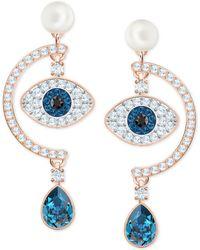 Swarovski - Rose Gold-tone Crystal & Imitation Pearl Evil Eye Drop Earrings - Lyst