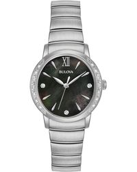 Bulova - Women's Diamond Accent Stainless Steel Bracelet Watch 28mm 96r213 - Lyst