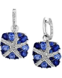 Effy Collection - Ceylon Sapphire (3-7/8 Ct. T.w.) And Diamond (1/4 Ct. T.w.) Starfish Drop Earrings In 14k White Gold - Lyst