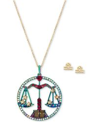 "Betsey Johnson - Two-tone Multi-stone Libra Zodiac Pendant Necklace & Stud Earrings Set, 21-1/2"" + 3"" Extender - Lyst"