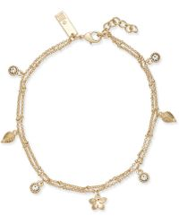 INC International Concepts - I.n.c. Gold-tone Crystal & Charm Double Strand Anklet, Created For Macy's - Lyst