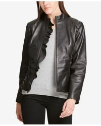 DKNY - Ruffled Leather Moto Jacket, Created For Macy's - Lyst