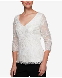 Alex Evenings - Sequined & Embroidered Top - Lyst