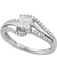 Macy's - Diamond Princess Swirl Engagement Ring (1/2 Ct. T.w.) In 14k White Gold - Lyst