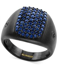 Effy Collection - Men's Sapphire Cluster Ring (1-1/3 Ct. T.w.) In Black Rhodium-plated Sterling Silver - Lyst