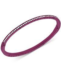 Michael Kors - Purple-tone Stainless Steel Pavé Hinged Bangle Bracelet - Lyst