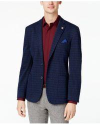 Ben Sherman - Men's Slim-fit Blue/purple Diamond Pattern Sport Coat - Lyst