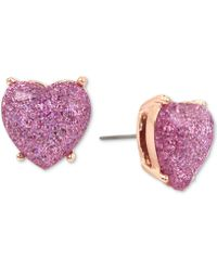 Betsey Johnson | Rose Gold-tone Lavender Glitter Heart Stud Earrings | Lyst