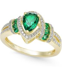 Macy's | Emerald (9/10 Ct. T.w.) And Diamond (1/4 Ct. T.w.) Ring In 14k Gold | Lyst