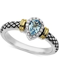 Macy's - Swiss Blue Topaz (1/2 Ct. T.w.) & Diamond Accent Ring In Sterling Silver - Lyst