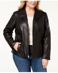 Cole Haan - Plus Size Leather Jacket - Lyst