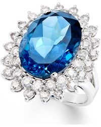 Macy's - 14k White Gold Ring, London Blue Topaz (12 Ct. T.w.) And Diamond (1-5/8 Ct. T.w.) Oval Ring - Lyst