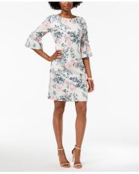Ivanka Trump - Floral Printed Eyelet Bell-sleeve Sheath Dress - Lyst