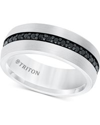 Triton Black Sapphire Band (7/8 Ct. T.w.) In White Tungsten Carbide